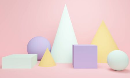 Geometric pink abstract background with cone, ball and square. Minimalist backdrop design for product promotion. 3d rendering 版權商用圖片
