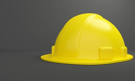Mockup Yellow safety helmet on a dark background. 3d rendering