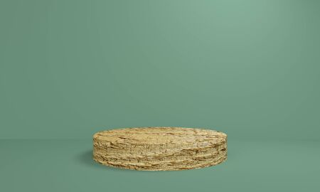 Green background with wooden platform. Minimalist backdrop design for product promotion. 3d rendering