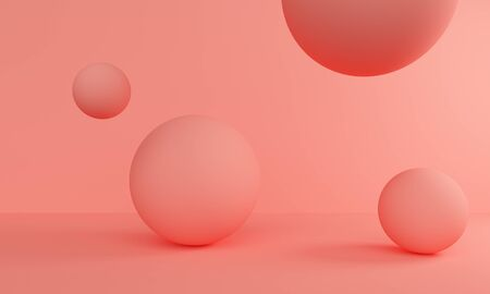 Abstract coral background with balloons. Backdrop design for product promotion. 3d rendering