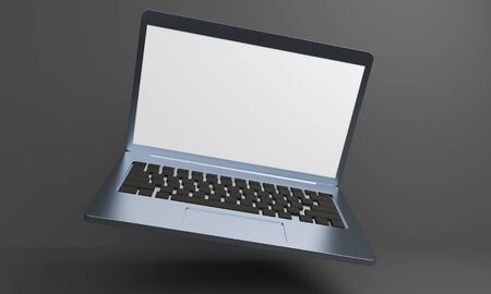 Mockup levitating laptop with a shadow on a dark background. 3d rendering