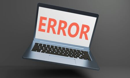 Levitating laptop on a dark background with an error message on the screen. 3d rendering 版權商用圖片 - 128363747