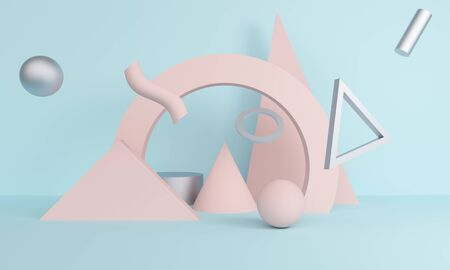 Geometric blue abstract background with pink cone, ring and silver ball. Minimalist backdrop design for product promotion. 3d rendering