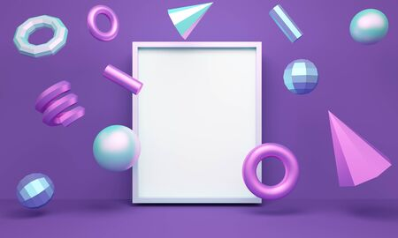 Geometric lilac abstract background with levitating figures and frame. Backdrop design for product promotion. 3d rendering