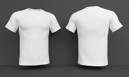 Mockup White mens t-shirt on a dark background. Front and back view. 3d rendering Stock Photo