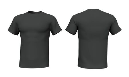 Mockup Black men t-shirt isolated on white background. Front and back view. 3d rendering