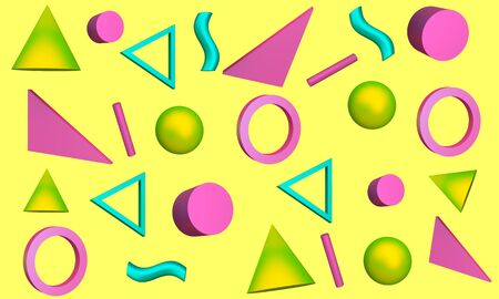 Abstract yellow background with bright graphic elements sphere, triangle, wave and cones. 3d rendering