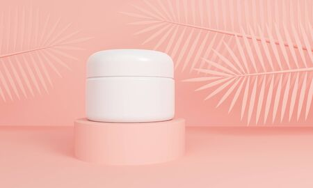 Mockup packaging cream for skin on a pink platform with palm leaves. 3d rendering