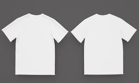 Mockup White mens t-shirt on a dark table. Front and back view. 3d rendering