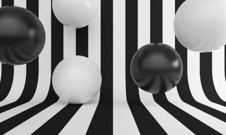 Abstract background with black and white line and balloons. Backdrop design for product promotion. 3d rendering