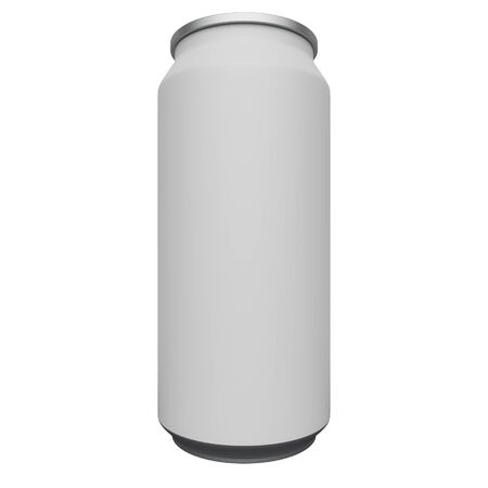 Aluminum can mockup with a blank label isolated on white background. 3d rendering