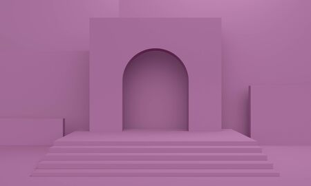 Lilac abstract background with a rectangular platform and stairs. Backdrop design for product promotion. 3d rendering 版權商用圖片
