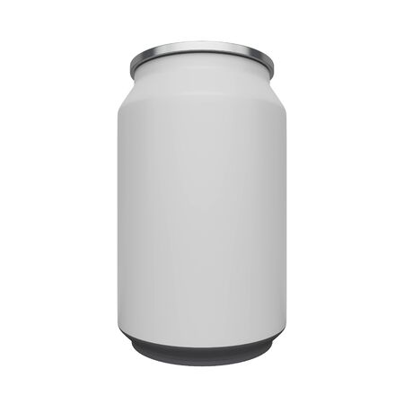 Mock up of a can for a drink with a blank label isolated on white background. 3d rendering