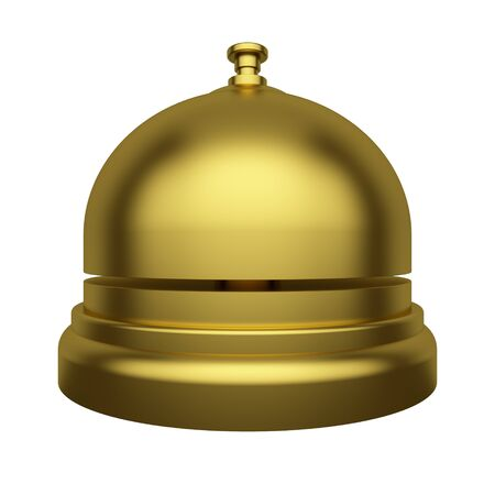 Golden reception bell Isolated on a white background. Hotel Service Concept. 3d rendering