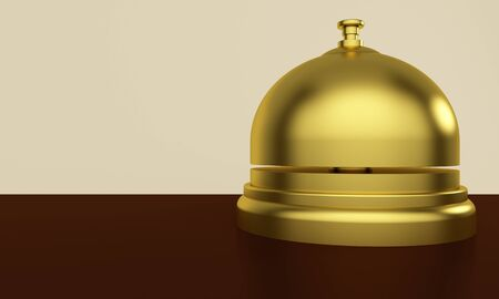Golden reception bell on a table. Hotel Service Concept. 3d rendering