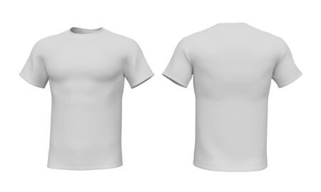Mockup men t-shirt isolated on white background. Front and back view. 3d rendering Stock Photo