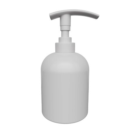 Mockup bottle for cream or liquid soap isolated on white background. 3d rendering