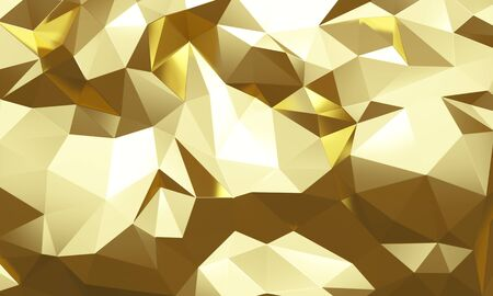 Gold low poly abstract background. Backdrop design for product promotion. 3d rendering
