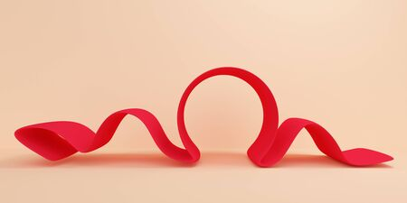 Abstract background with red ribbon wave. Backdrop design for product promotion. 3d rendering 版權商用圖片