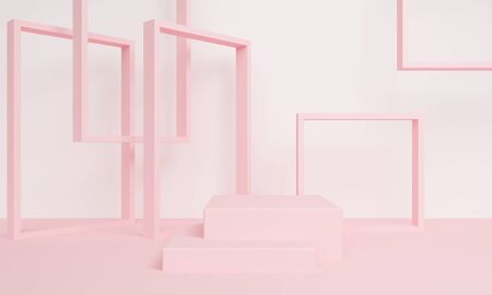 Abstract background with a rectangular pink podium and frame. Backdrop design for product promotion. 3d rendering