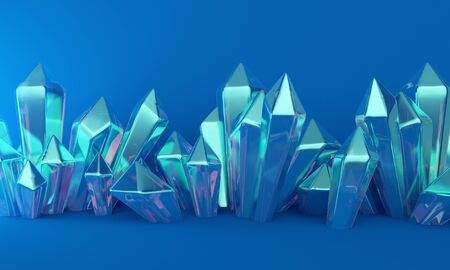 Abstract background with blue crystals. Backdrop design for product promotion. 3d rendering 版權商用圖片