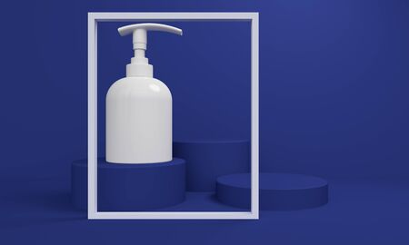 Mockup bottle for cream or liquid soap on a blue geometric abstract background with a cylindrical podium and a light frame. 3d rendering