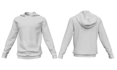 Mockup men hoodie isolated on white background. Front and back view. 3d rendering