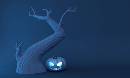 Poster Halloween pumpkin lantern and old tree on a blue background. 3d rendering 版權商用圖片