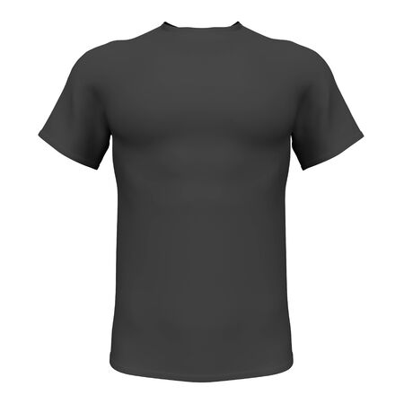 Mockup Black men t-shirt isolated on white background. Front view. 3d rendering