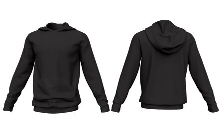 Mockup men black hoodie isolated on white background. Front and back view. 3d rendering