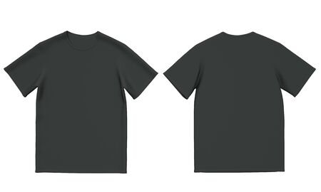 Mockup black mens t-shirt isolated on white background. Front and back view. 3d rendering