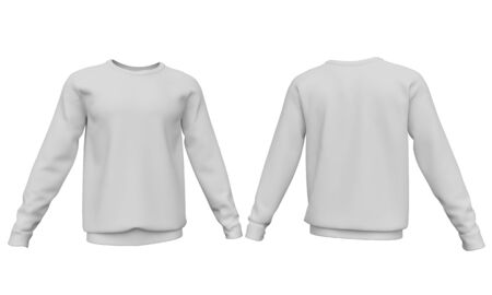 Mockup men sweatshirt with long sleeves isolated on white background. Front and back view. 3d rendering