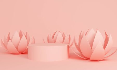 Geometric pink abstract background with lotus flowers and podium. Minimalist backdrop design for product promotion. 3d rendering Stock Photo