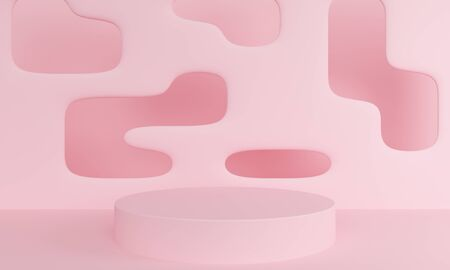 Geometric pink abstract background with a podium. Minimalist backdrop design for product promotion. 3d rendering