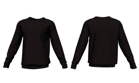 Mockup men black sweatshirt with long sleeves isolated on white background. Front and back view. 3d rendering