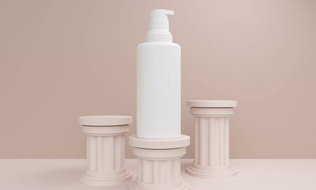 Mockup cosmetics bottles with dispenser on ancient columns platforms. 3d rendering