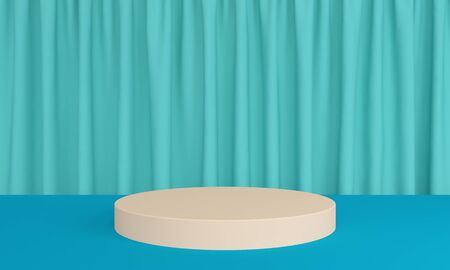Blue abstract background with curtain and podium. Minimalist backdrop design for product promotion. 3d rendering 版權商用圖片
