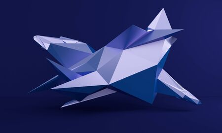 Abstract blue background with a metal low poly figure. 3d rendering 版權商用圖片