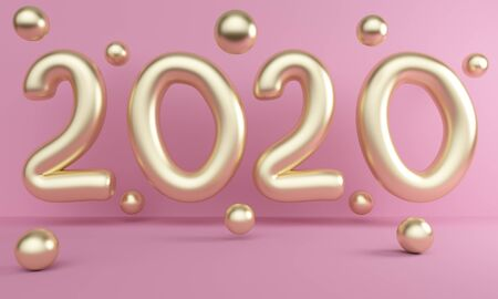 Poster New Year 2020 with golden balloons. 3d rendering