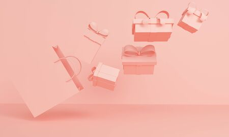 Pink shopping bag and levitation gifts with bows. Poster with place for text. 3d rendering