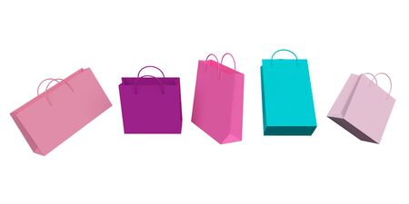 Colorful shopping bags levitate isolated on a white background. 3d rendering