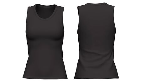 Mockup Black Woman sleeveless t-shirt isolated on white background. Front and back view. 3d rendering