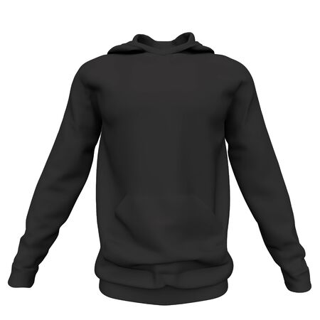 Mockup men black hoodie isolated on white background. Front view. 3d rendering