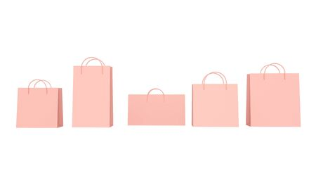 Set pink shopping bags isolated on white background. 3d rendering