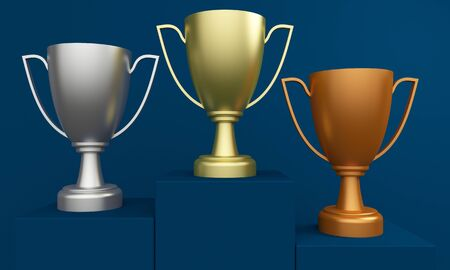 Gold, silver and bronze trophy cup on a blue podium. 3d rendering Stock Photo