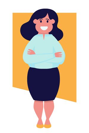 Happy modern business woman in a skirt stands and smiles. Vector illustration