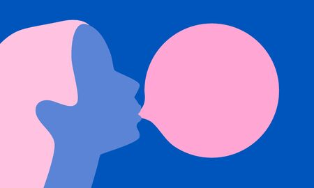 Woman blowing pink bubble gum on a blue background. Flat design. Vector illustration
