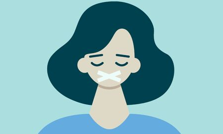 Woman with a closed mouth. Freedom of speech concept. Flat design. Vector illustration