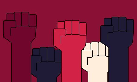People with fists raised up. Protest concept. Flat design. Vector illustration