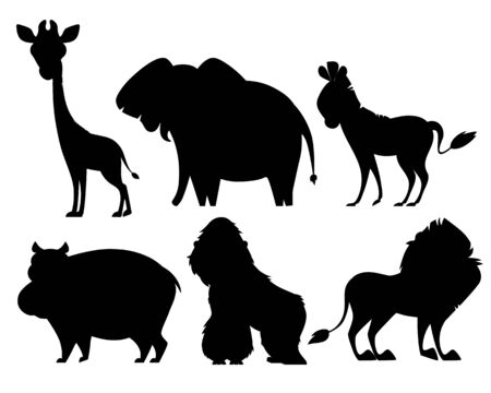 Set of silhouettes of African animals isolated on white background. Flat design. Vector illustration